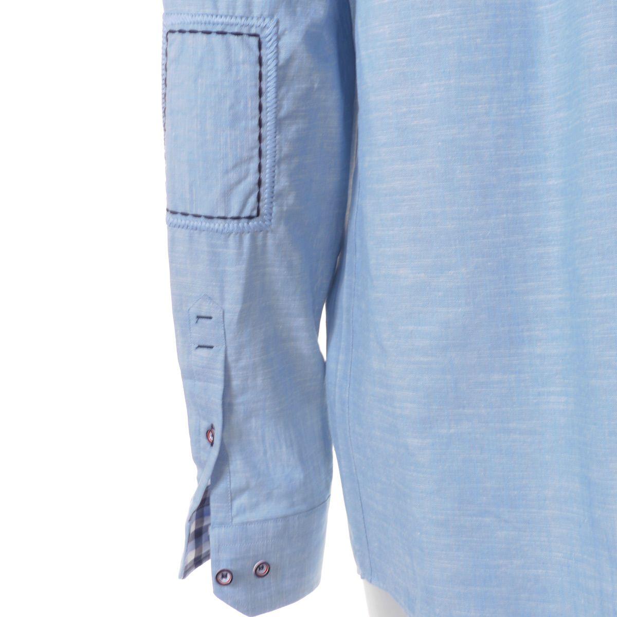chemise en lin bleu pour homme grand manches extra longues 72 cm size factory oakman. Black Bedroom Furniture Sets. Home Design Ideas
