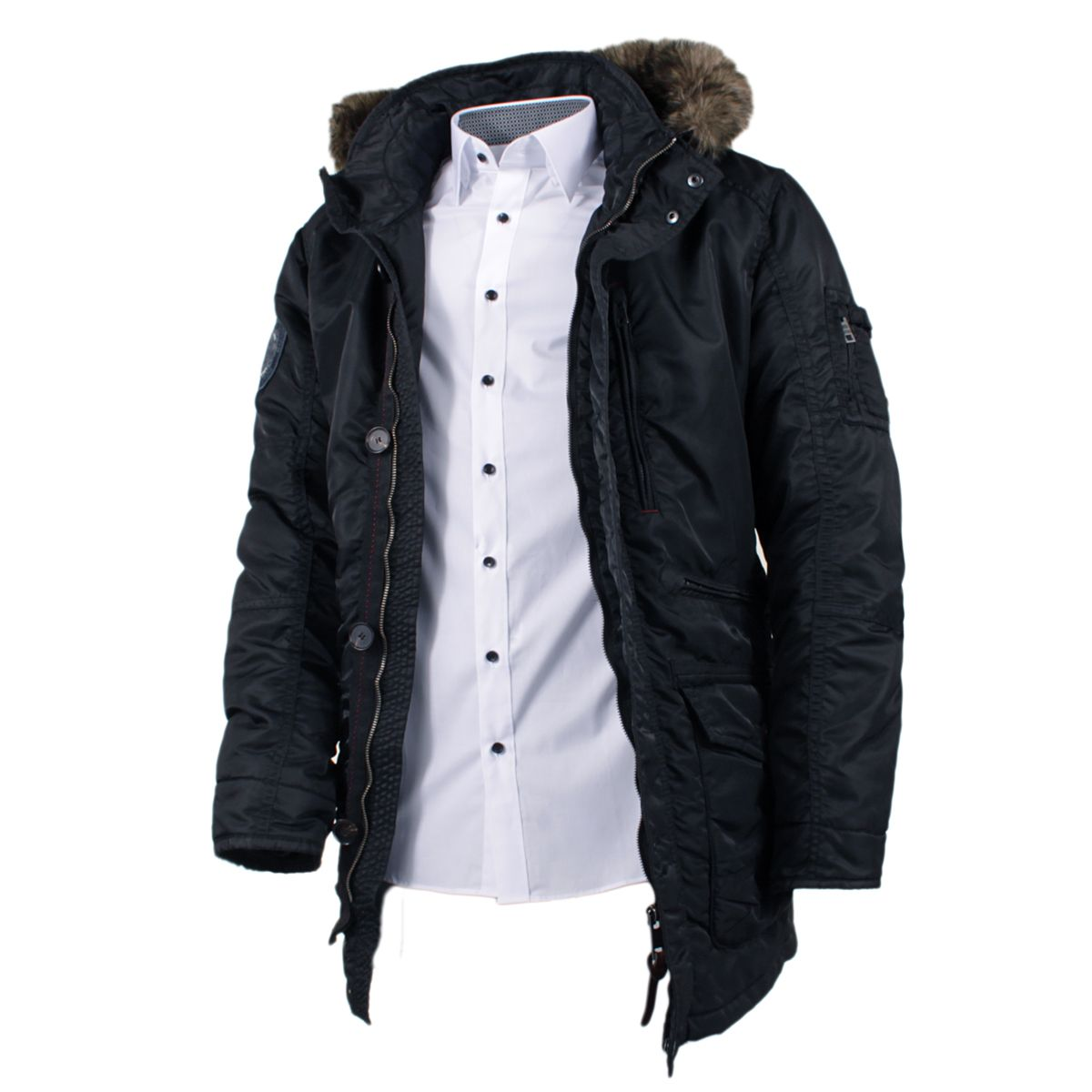 parka doudoune col fourrure noire pour homme grand du l au 3xl size factory camel active. Black Bedroom Furniture Sets. Home Design Ideas