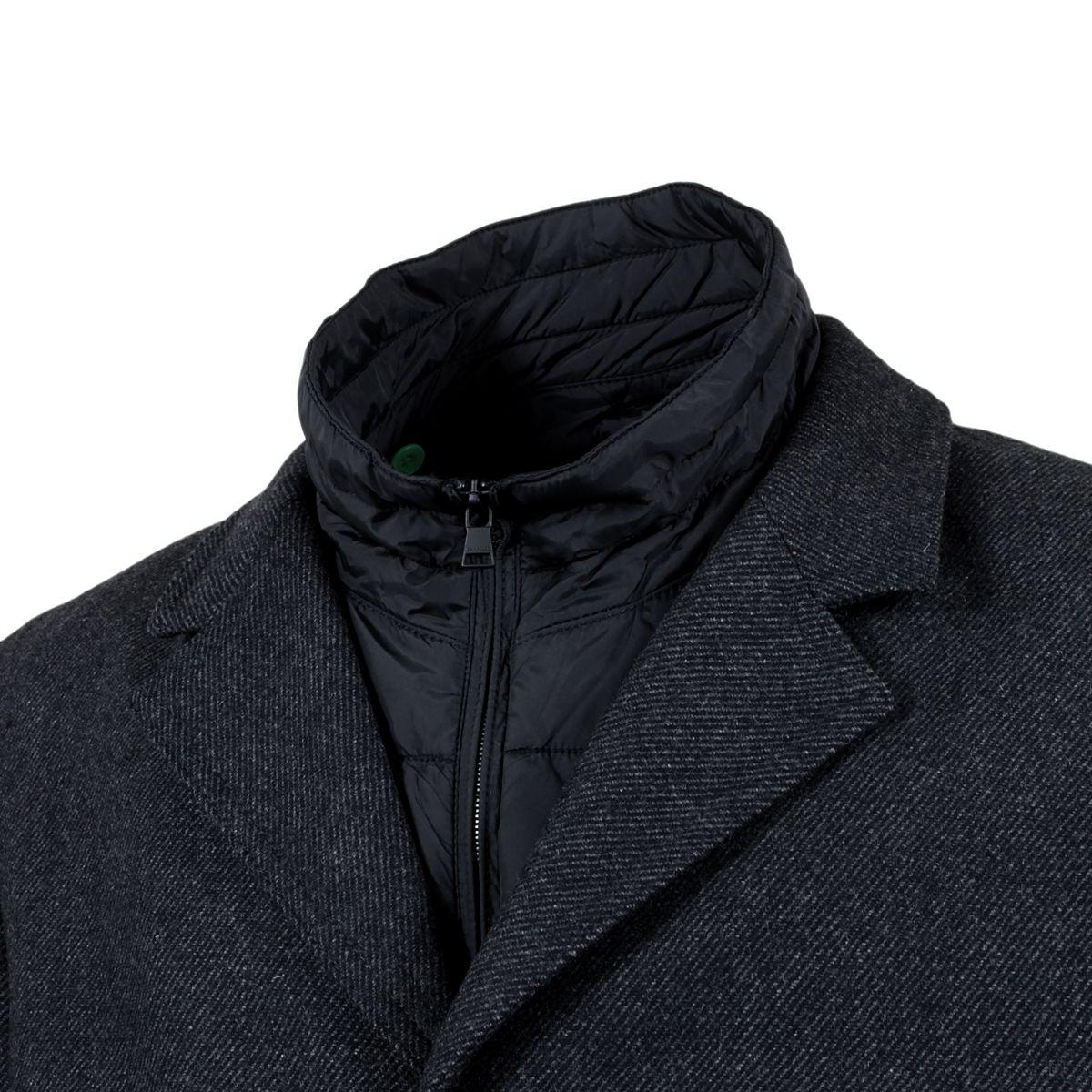 manteau en laine avec plastron amovible gris pour homme grand du l au 3xl size factory calamar. Black Bedroom Furniture Sets. Home Design Ideas