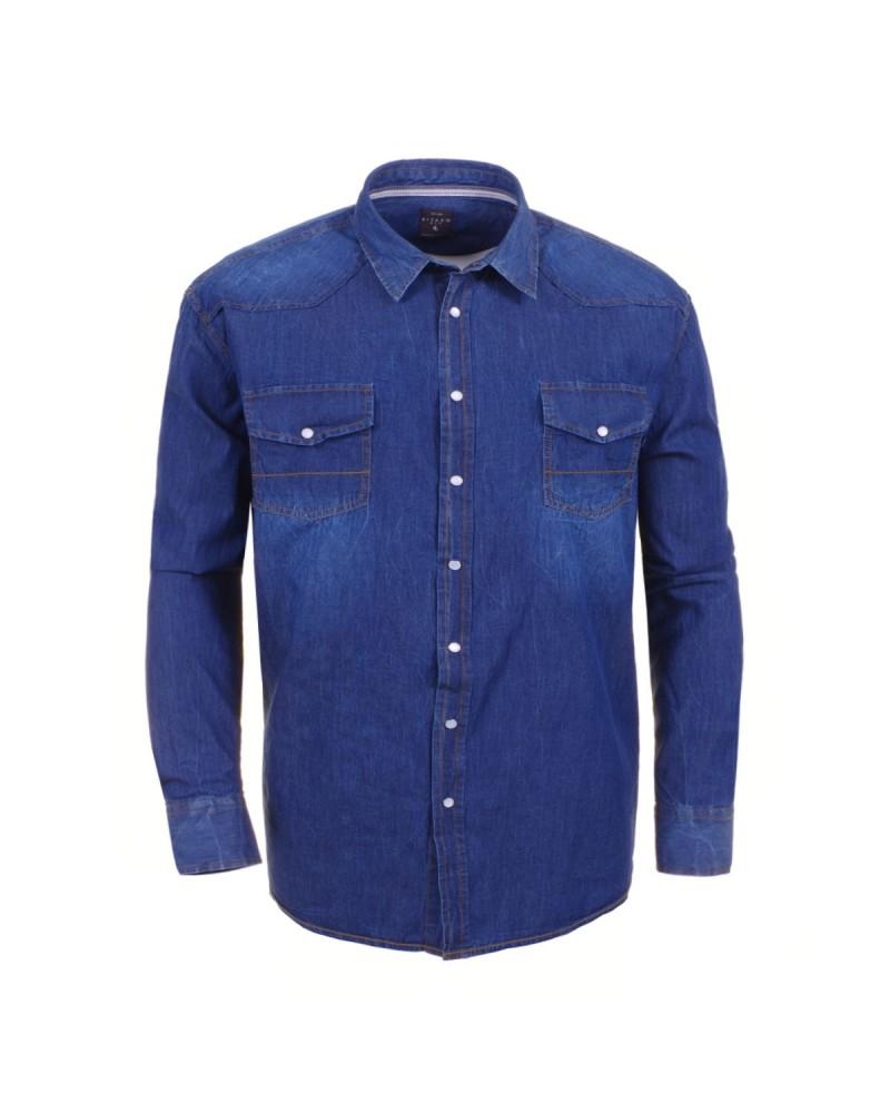 Chemise Denim dark blue pour Homme Grand: du M au 2XL