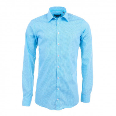 Chemise vichy bleu turquoise: manches extra-longues 72cm