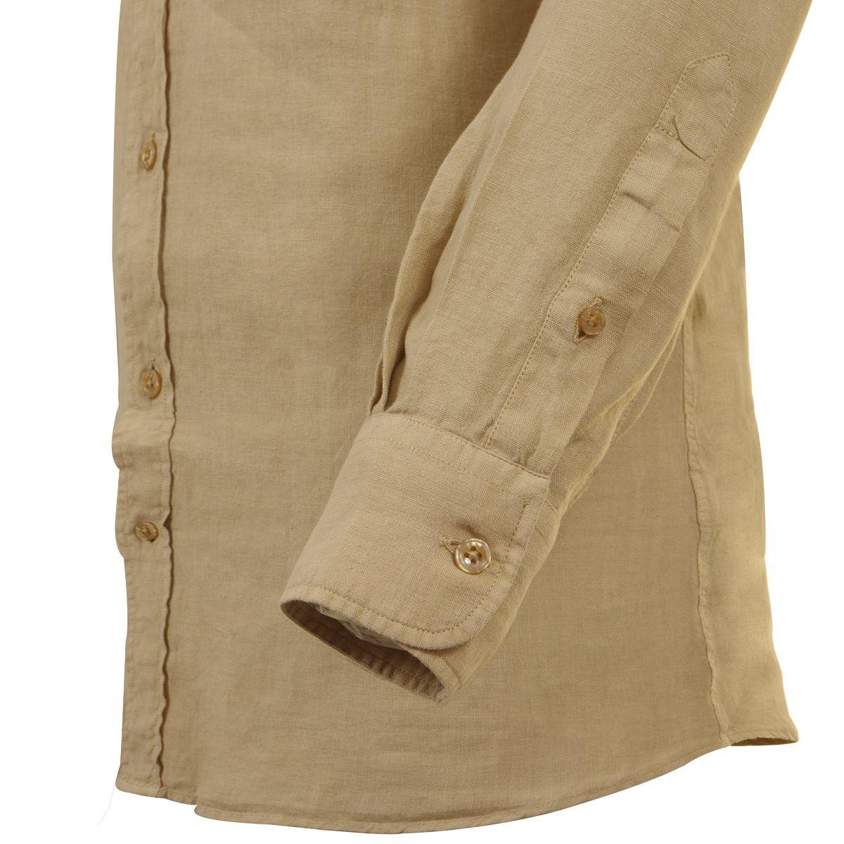 chemise en lin marron grande taille du 44 xl au 54 6xl size factory maneven. Black Bedroom Furniture Sets. Home Design Ideas