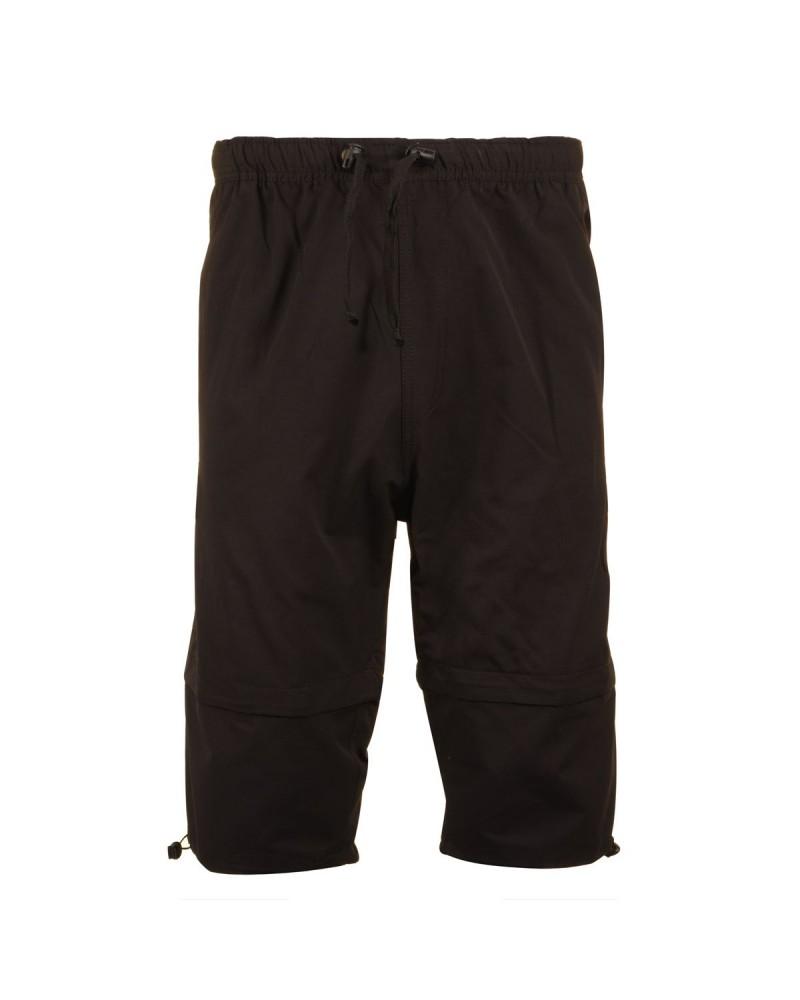 Pantacourt zip-off bermuda noir  : grande taille du 2XL au 8XL