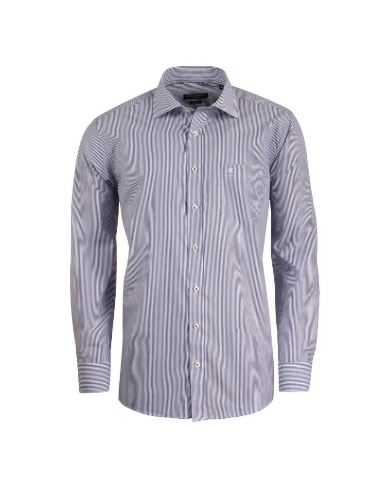 Chemise rayée bleue foncée : grande taille du XL au 6XL