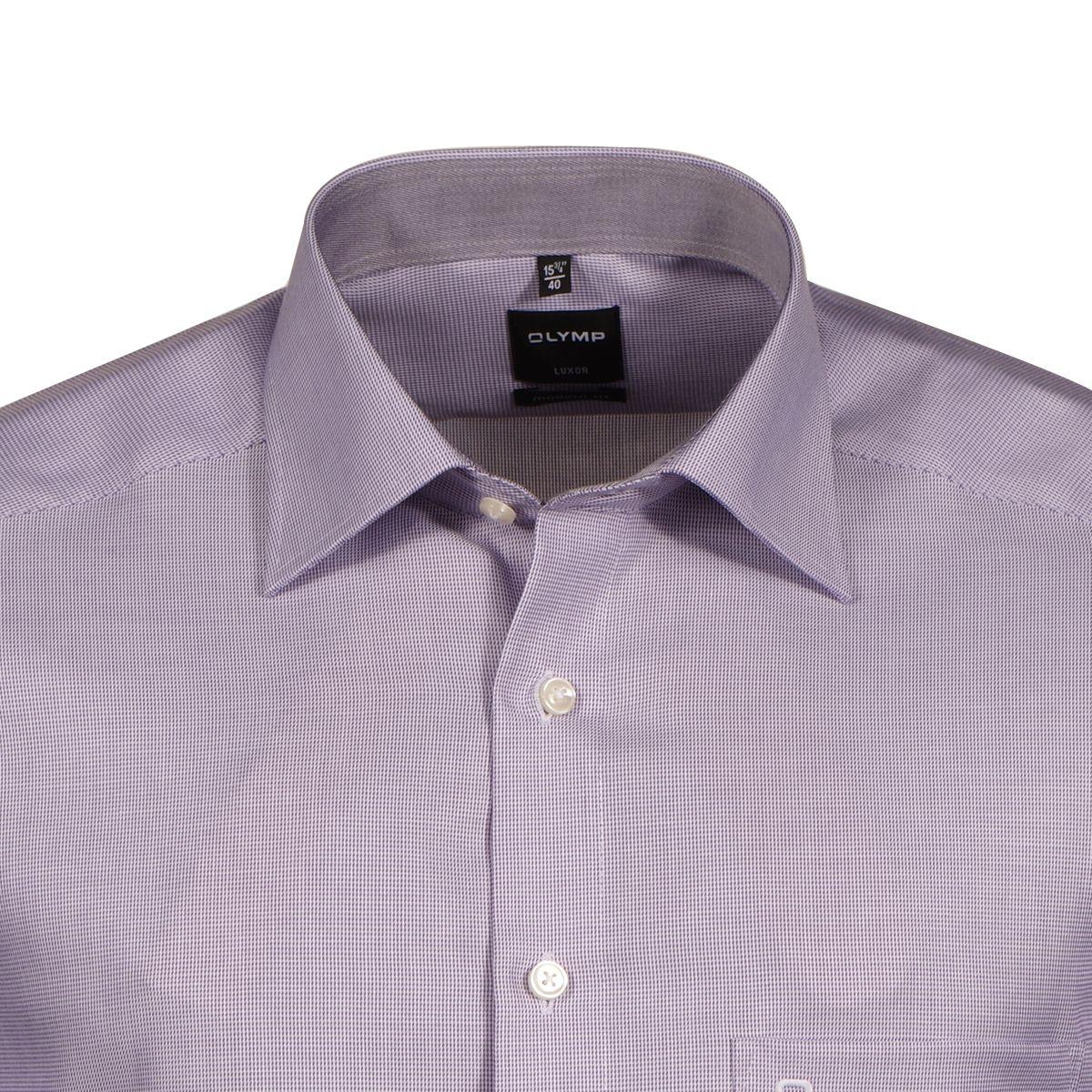 chemise violette fantaisie blanche semi cintr e manches extra longues 69cm size factory olymp. Black Bedroom Furniture Sets. Home Design Ideas