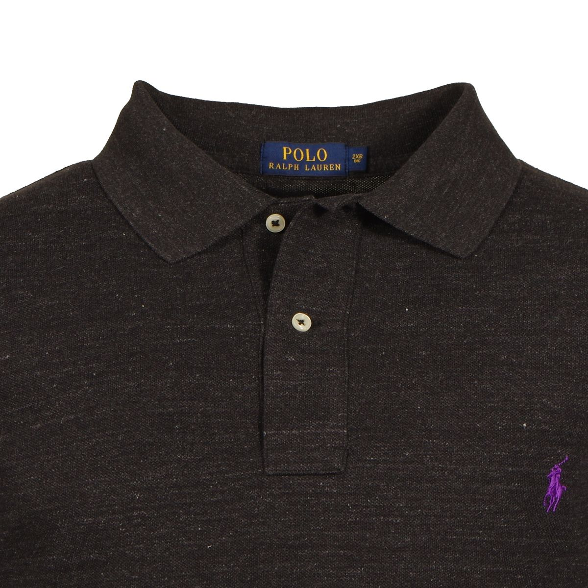 Polo manches longues anthracite grande taille du 2xl au for 6xl ralph lauren polo shirts