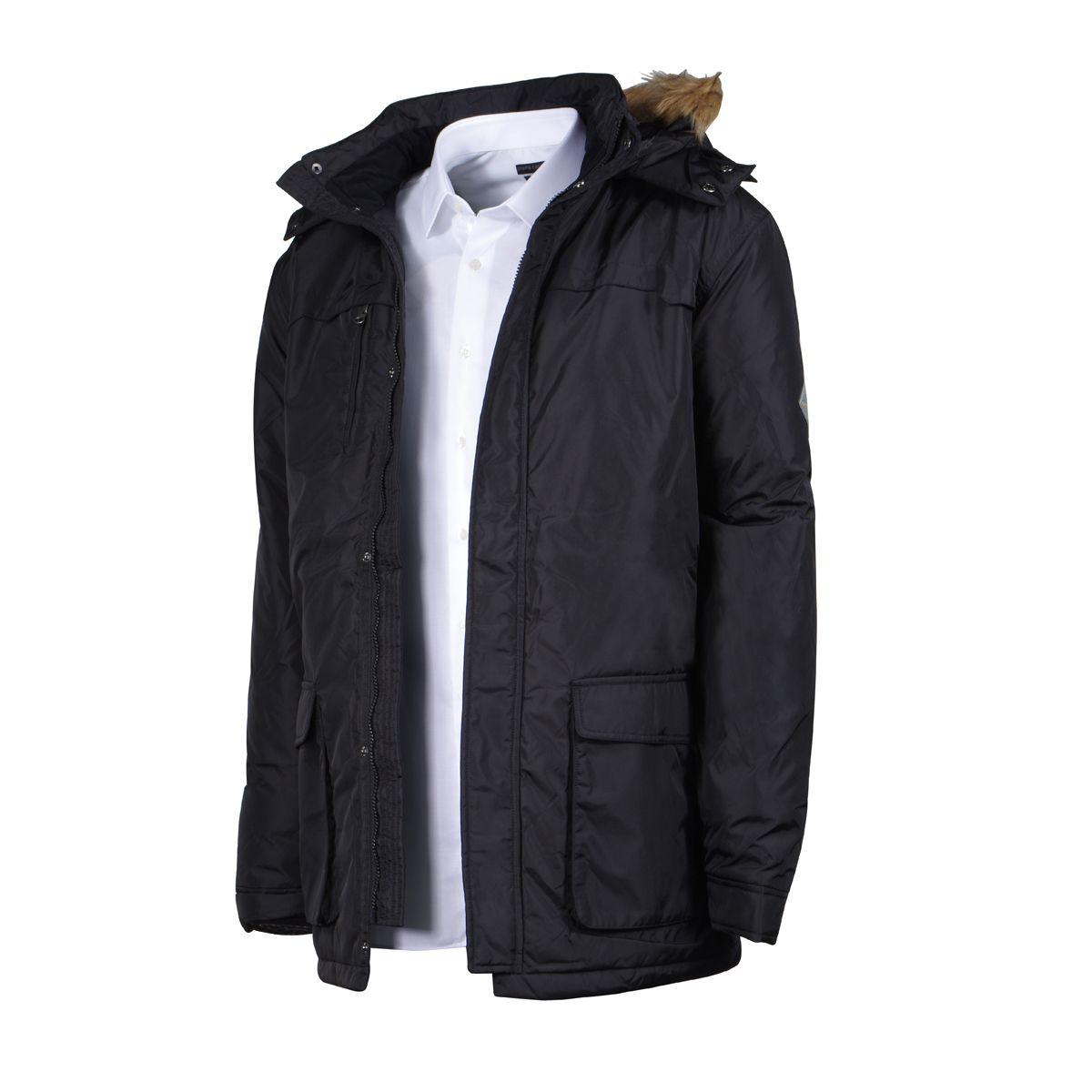 parka longue noir avec capuche amovible pour homme grand du l au 2xl size factory replika. Black Bedroom Furniture Sets. Home Design Ideas