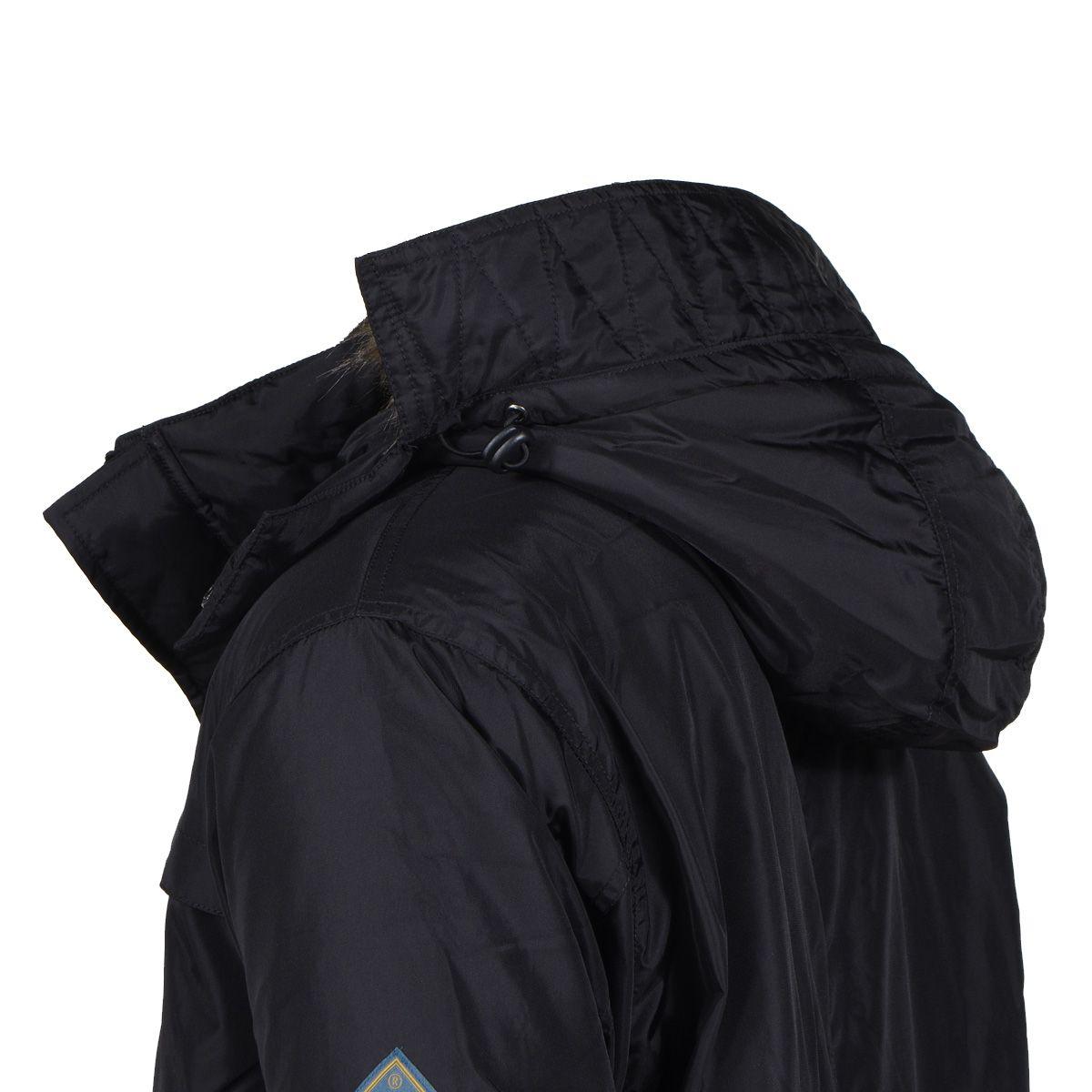 parka longue noir avec capuche amovible pour homme grand. Black Bedroom Furniture Sets. Home Design Ideas