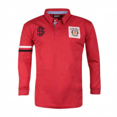 Polo manches longues rouge Sporting: grande taille du 3XL au 6XL