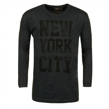T-shirt manches longues NY anthracite: grande taille du 2XL au 8XL