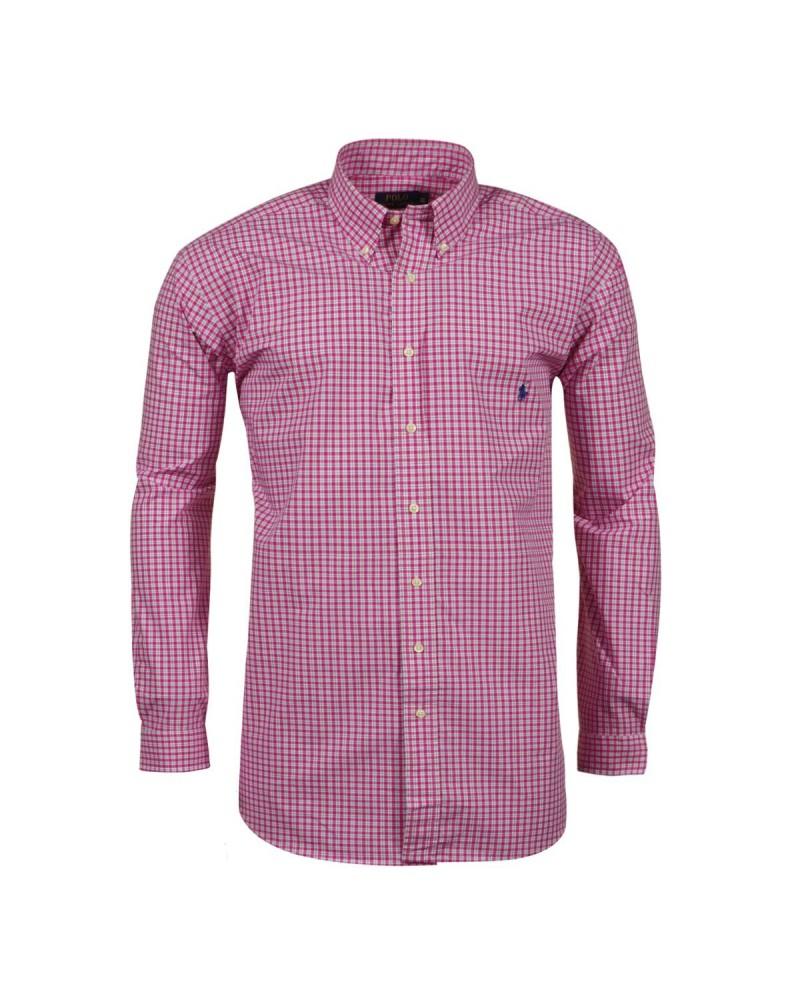Chemise à carreaux fuschia semi-cintrée: manches extra-longues