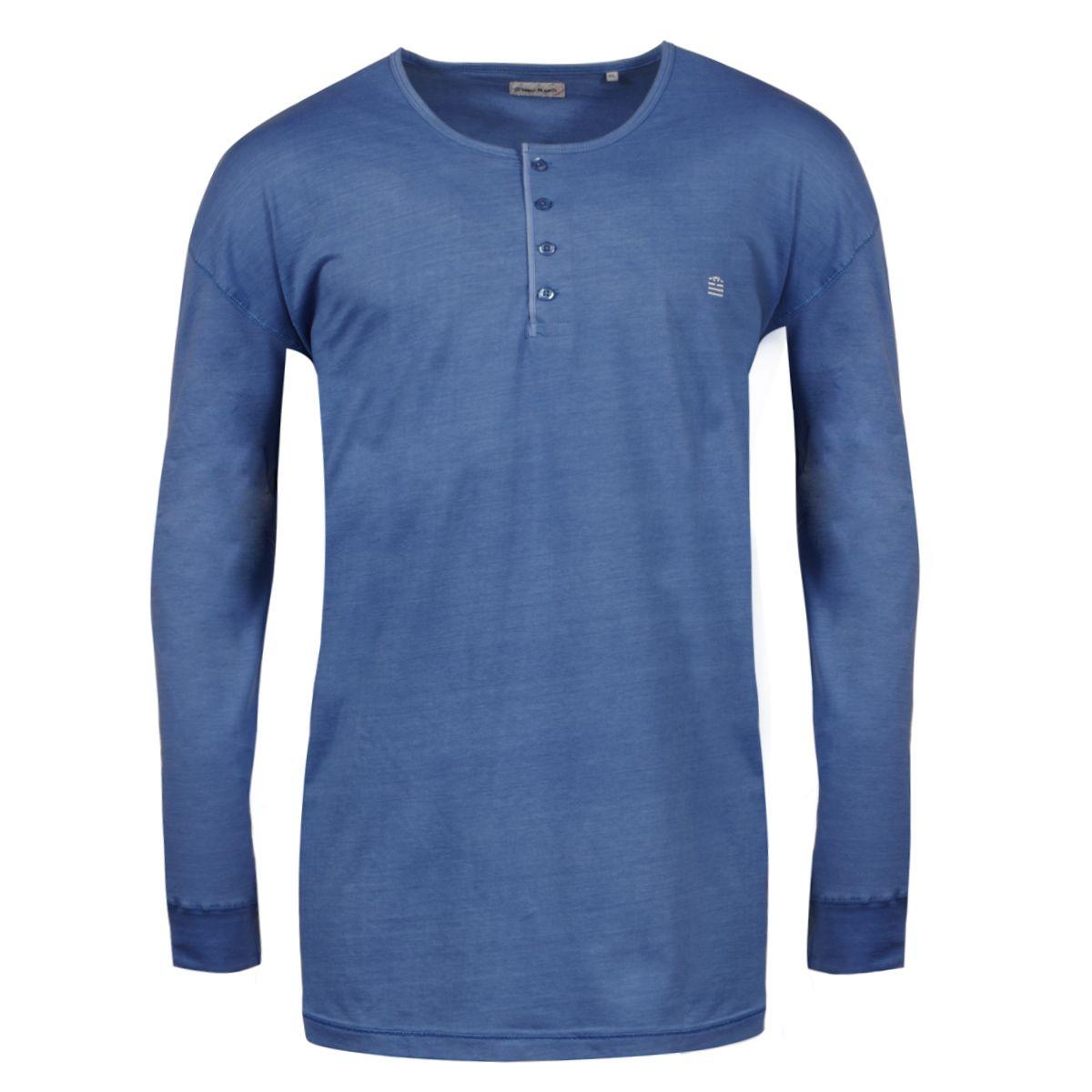 tee shirt manches longues col tunisien bleu grande taille du 3xl au 6xl size factory serge. Black Bedroom Furniture Sets. Home Design Ideas