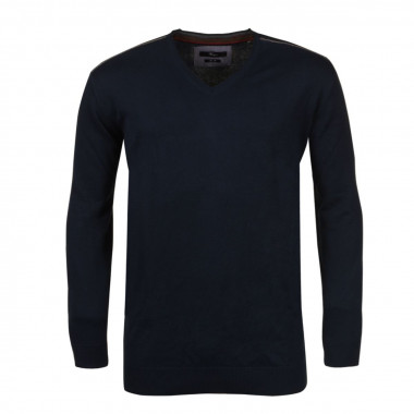 Pull col V bleu pour Homme Grand : manches extra-longues