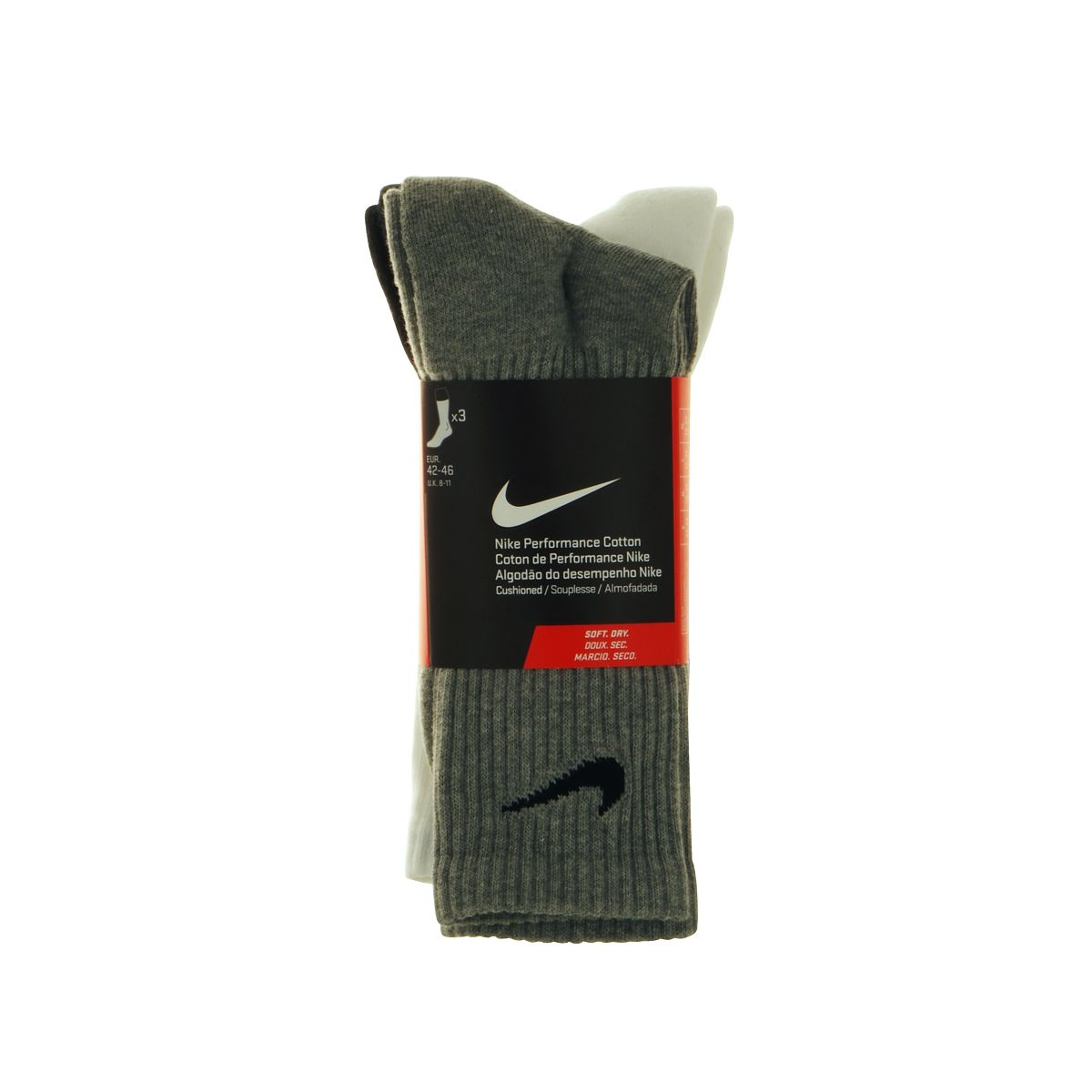 lot de 3 paires de chaussettes nike grises noires et blanches grande taille du 42 au 46 size. Black Bedroom Furniture Sets. Home Design Ideas