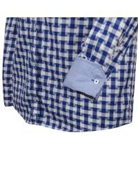 Chemise bleue à carreaux blancs cintrée: manches extra-longues 72cm