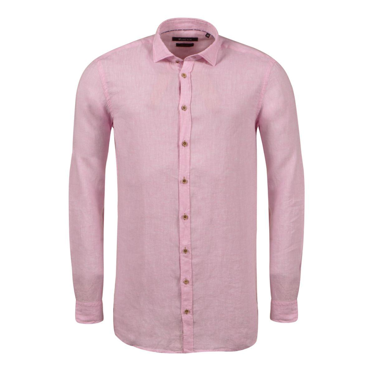 chemise en lin rose grande taille du 44 xl au 54 6xl size factory maneven. Black Bedroom Furniture Sets. Home Design Ideas
