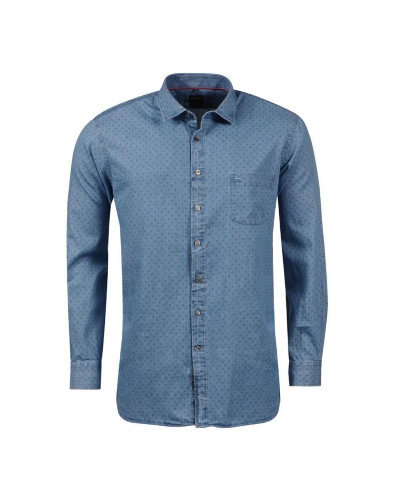 Chemisette bleue jean à motif bleus: grande taille du XL au 5XL