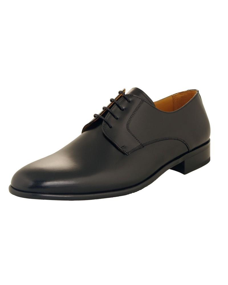 Chaussures derby noires Pieds Larges : grande taille jusqu'au 49
