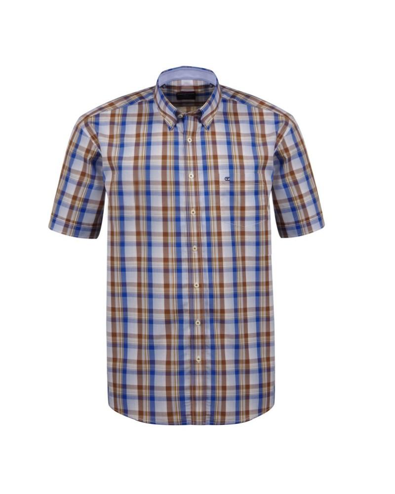 Chemisette bleue à carreaux marrons: grande taille du XL au 6XL