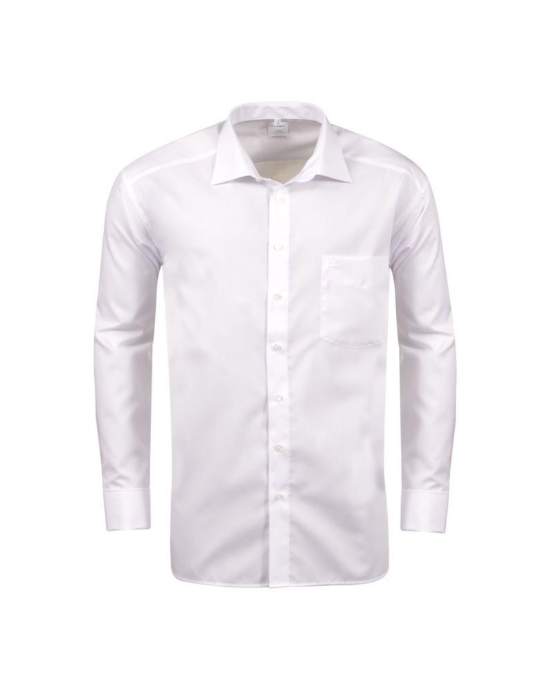 Chemise blanche poignets mousquetaires pour Homme Fort du 46 (2XL) au 48 (3XL)