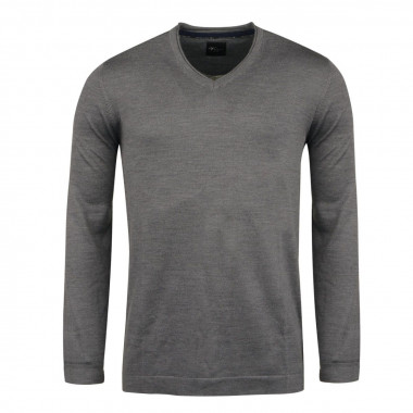 Pull col V anthracite pour Homme Grand : manches extra-longues