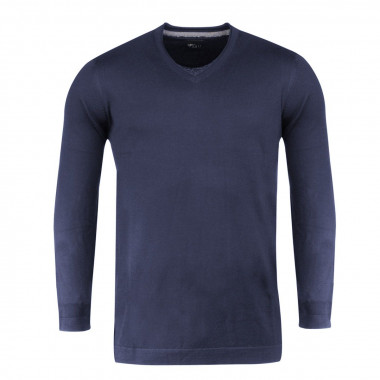 Pull col V bleu marine pour Homme Grand : manches extra-longues