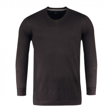 Pull col V noir pour Homme Grand : manches extra-longues