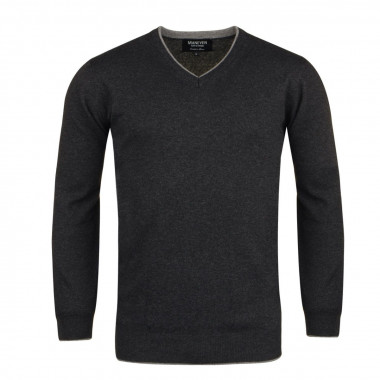 Pull col V cachemire anthracite pour Homme Grand : manches extra-longues