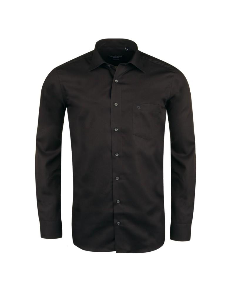 Chemise noire semi-cintrée (Modern Fit)  : manches extra longues 69 cm