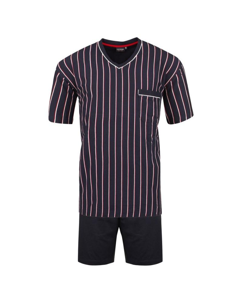 Pyjama Optical court col v navy rayures : grande taille du 3XL au 10XL