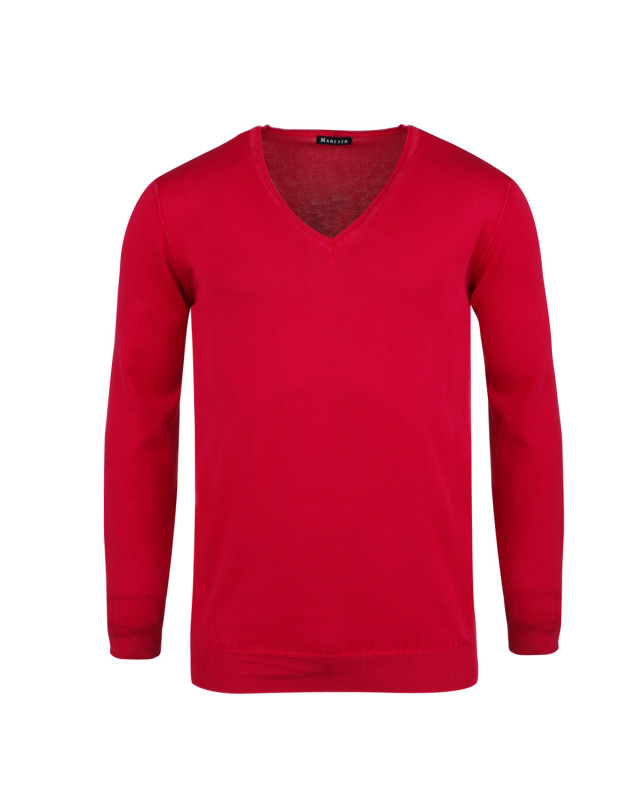 Pull col V framboise pour Homme Grand : manches extra-longues