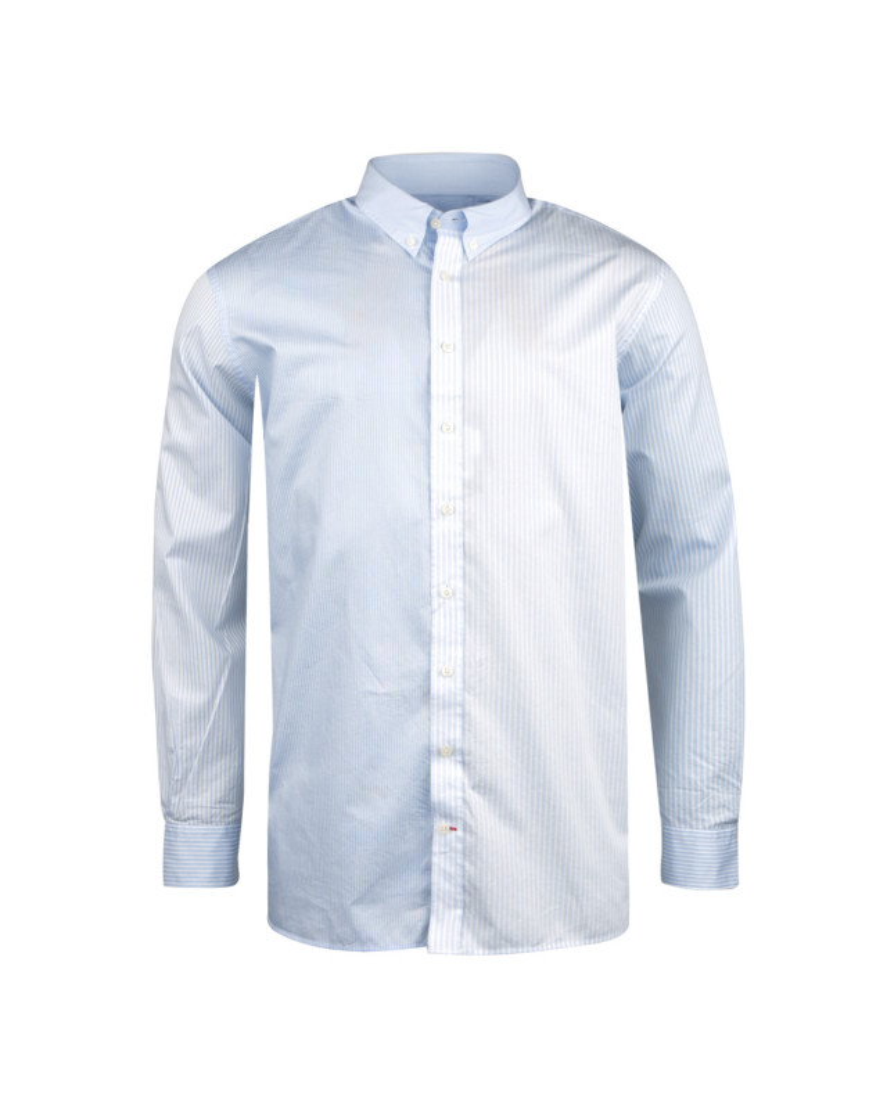 Chemise à rayures bleu ciel et blanc: grande taille du XL au 4XL