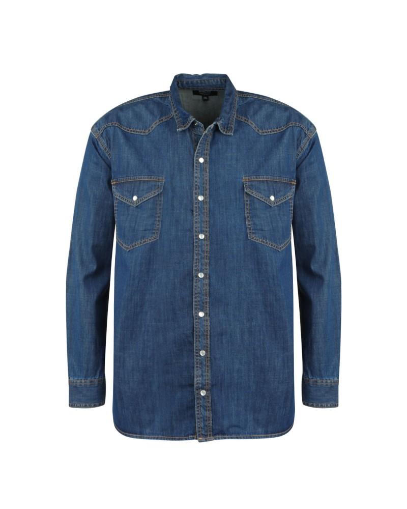 Chemise en jean bleu: manches extra-longues 72cm