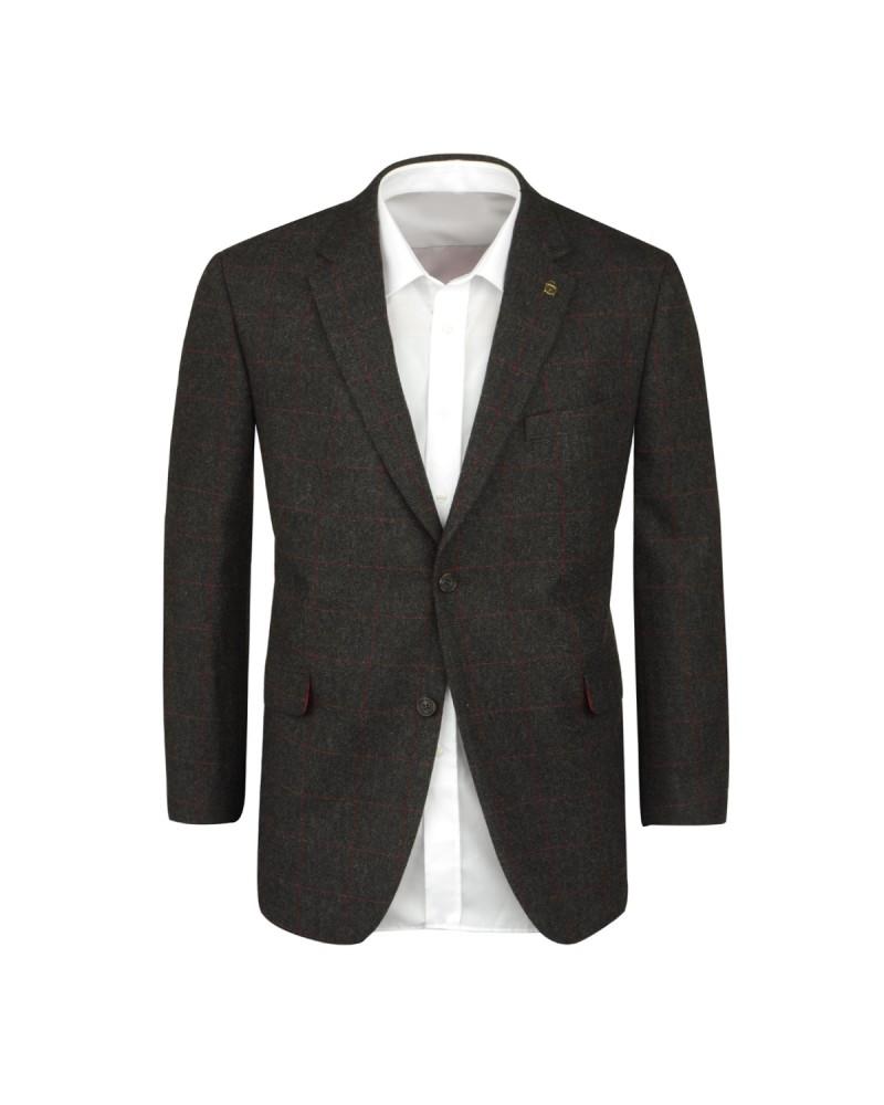 Veste en laine tweed anthracite: grande taille du 60 au 74