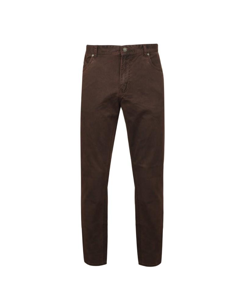 Pantalon 5poches microstructure marron: grande taille jusqu'au 64FR (50US)