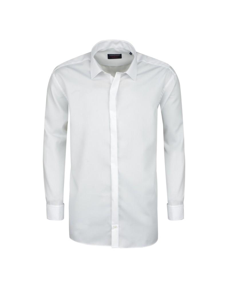 Chemise cérémonie blanche poignets mousquetaire : grande taille du 44 (XL) au 50 (4XL)