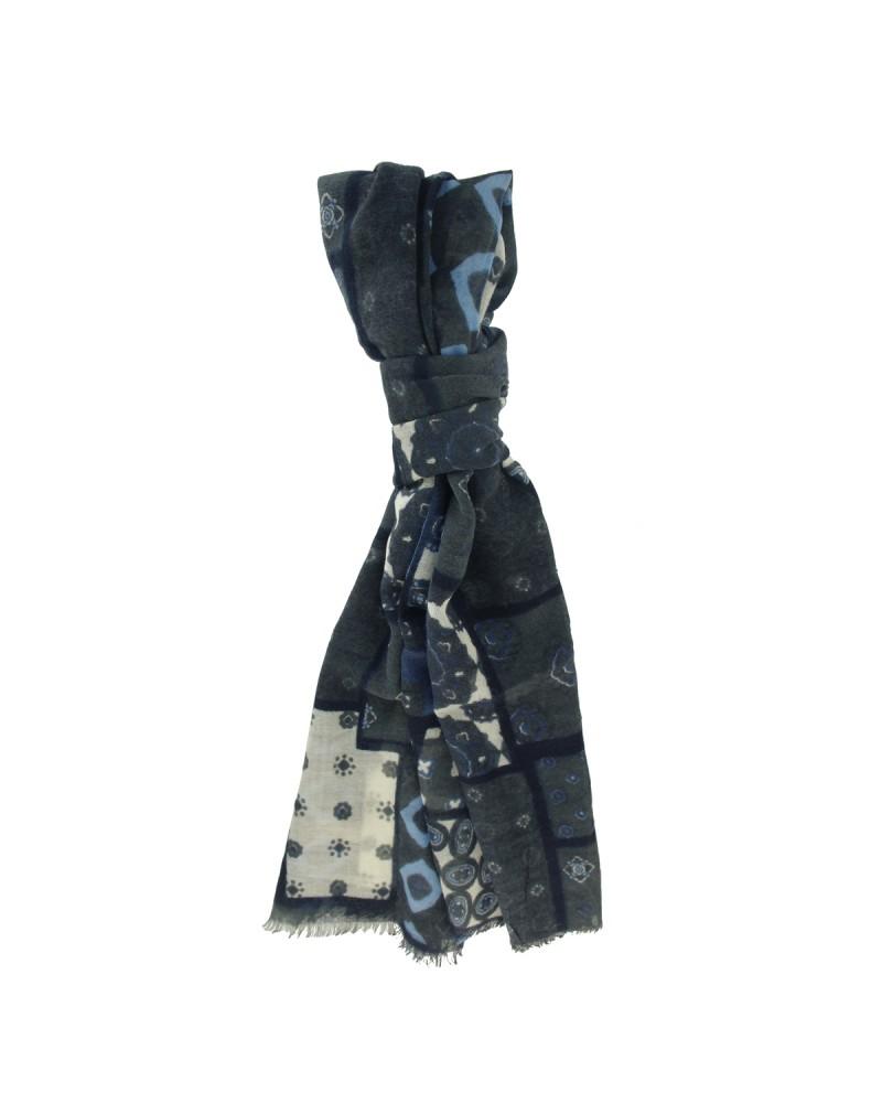 Chèche laine fantaisie bleu: taille unique