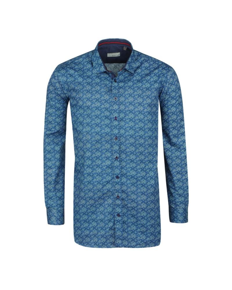 Chemise casual imprimé bleu moyen: grande taille du XL au 4XL