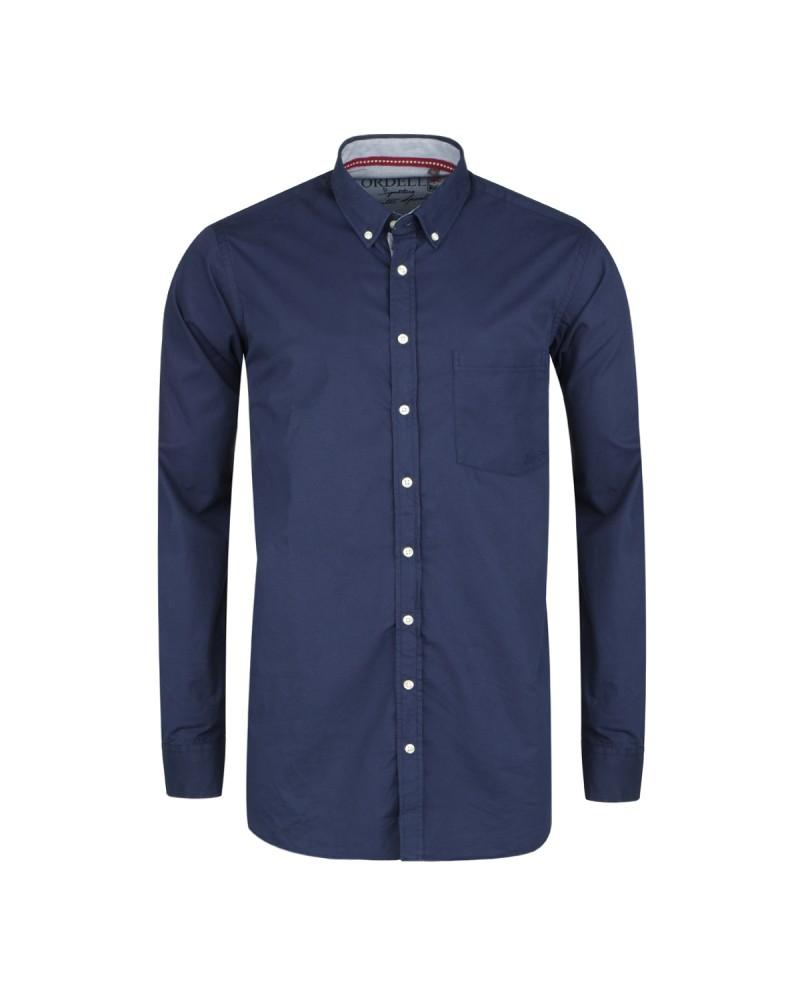 Chemise casual bleu marine cintrée: manches extra-longues 72cm