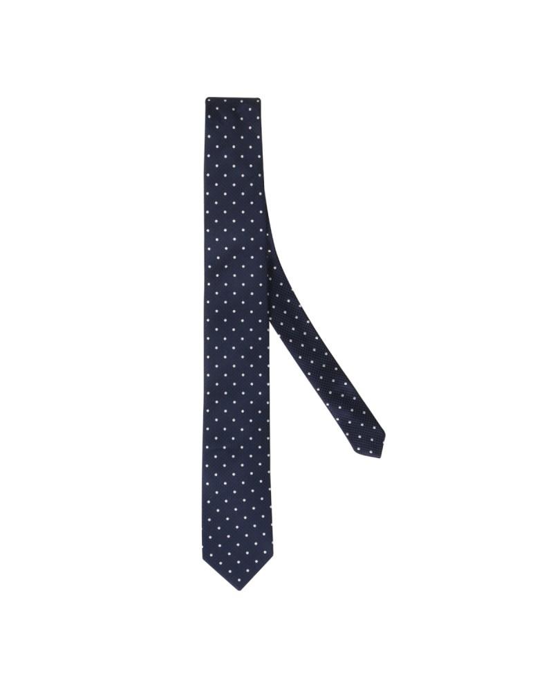 Cravate soie à pois extra-longue 160 cm bleu