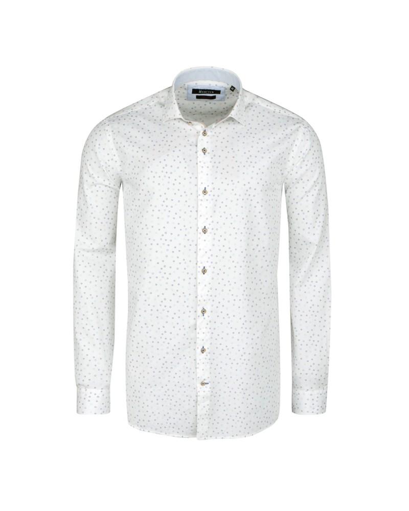 Chemise imprimée blanche cintrée: manches extra-longues 72cm