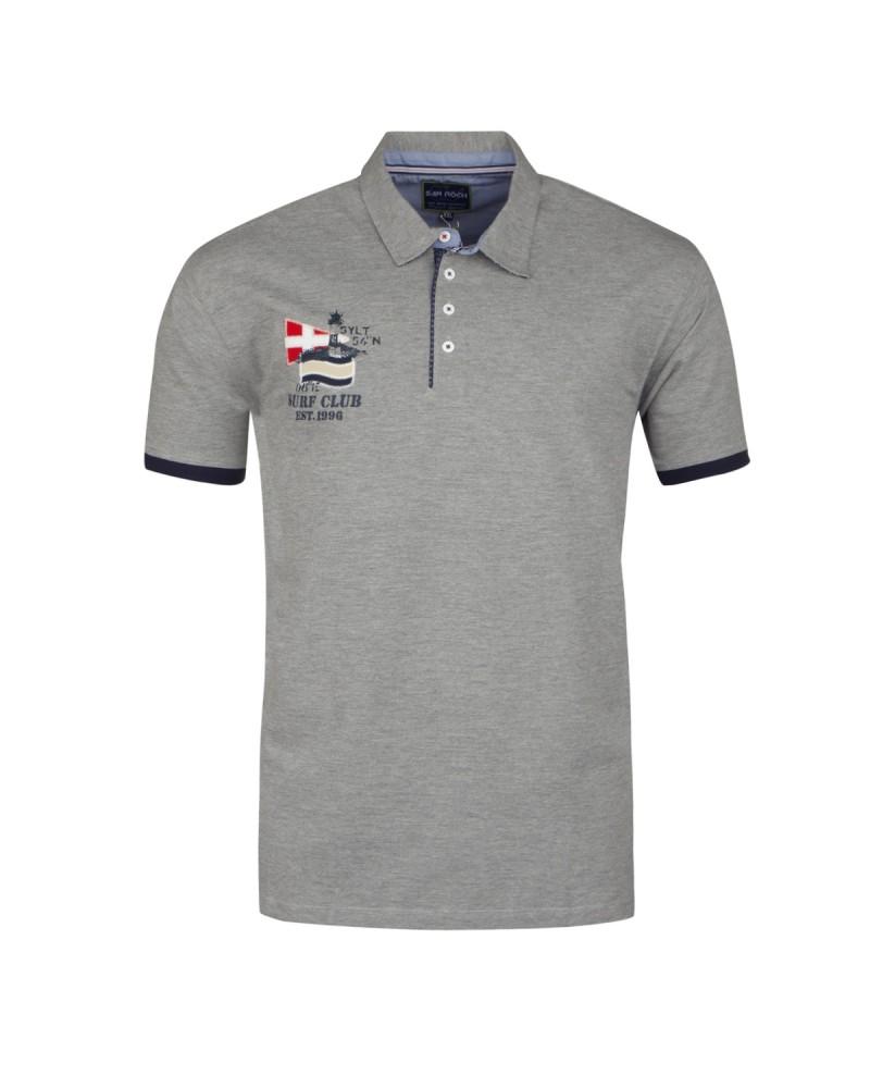 Polo à patch gris : grande taille du 2XL au 6XL