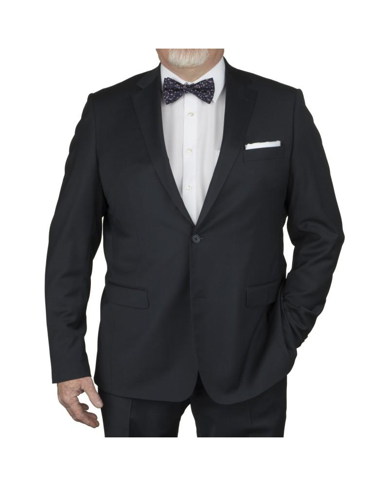 Veste de costume micro-dessin bleu marine: grande taille du 58 au 66