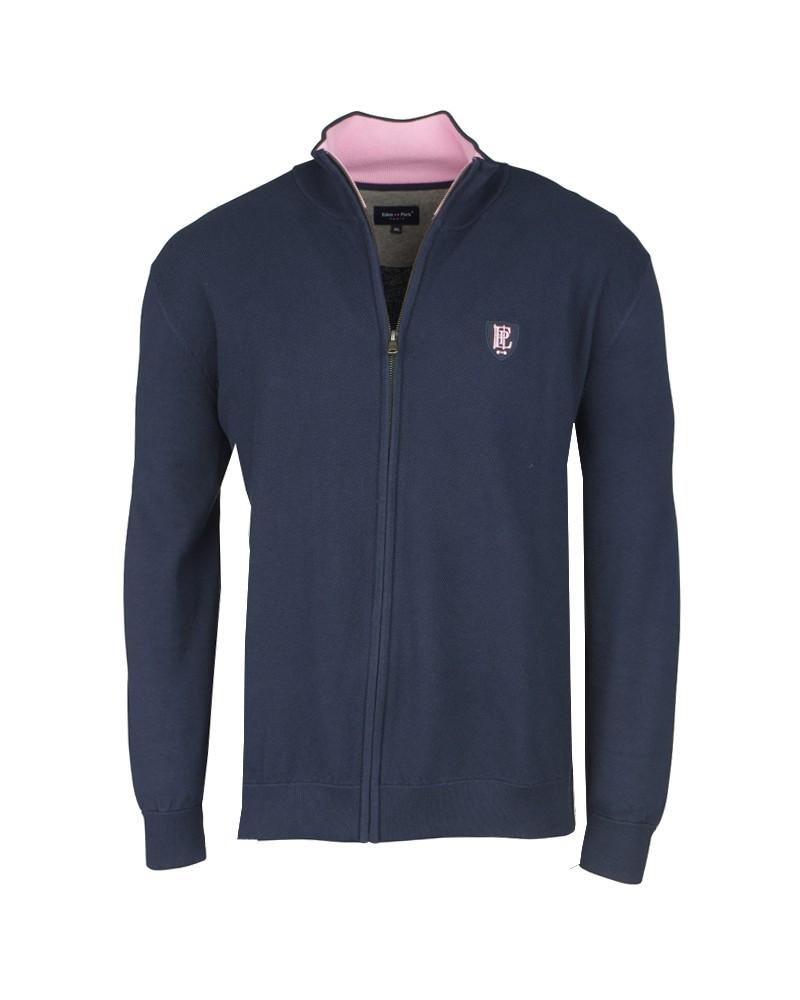 Cardigan zippé bleu: grande taille du 2XL au 5XL