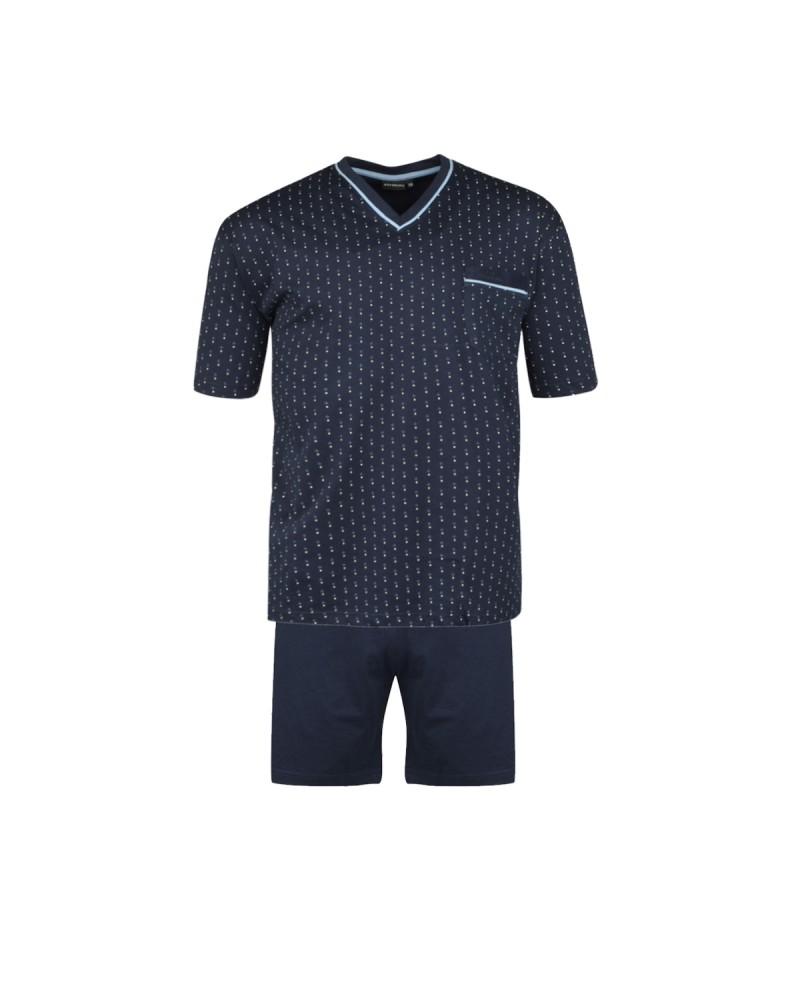 Pyjama court ORSON col V imprimé bleu