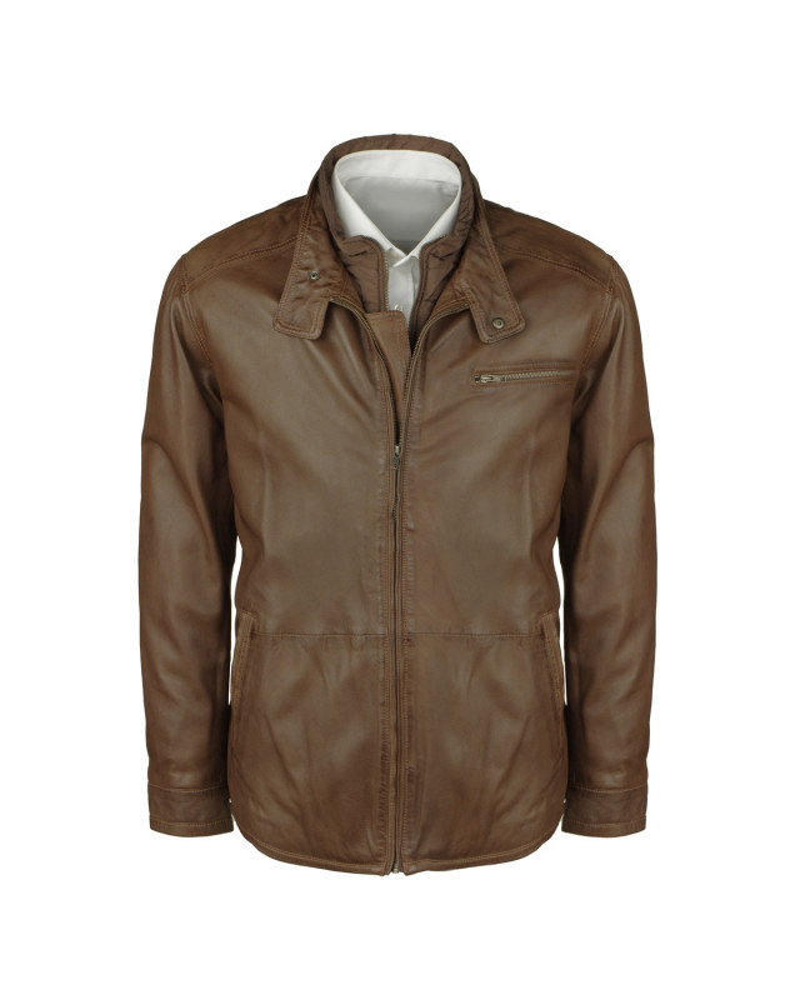 Blouson court cuir marron: grande taille du 3XL au 7XL