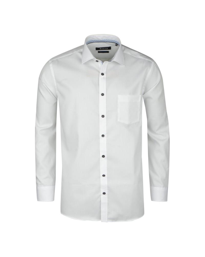 Chemise blanche opposition bleu: grande taille du 44 (XL) au 54 (6XL)