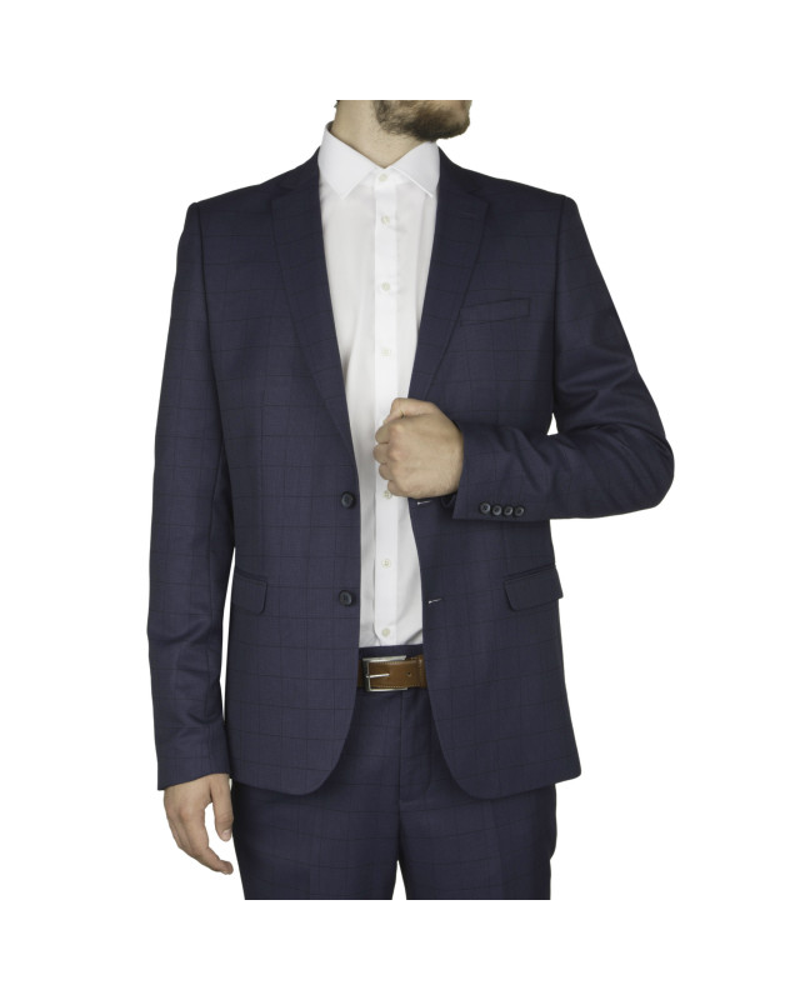 Veste de costume à carreaux bleu pour Homme Grand du 50 au 58