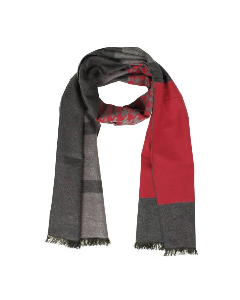 Echarpe soie rouge et gris: taille unique