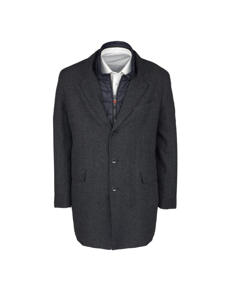 Manteau long en laine gris: grande taille du 2XL au 6XL